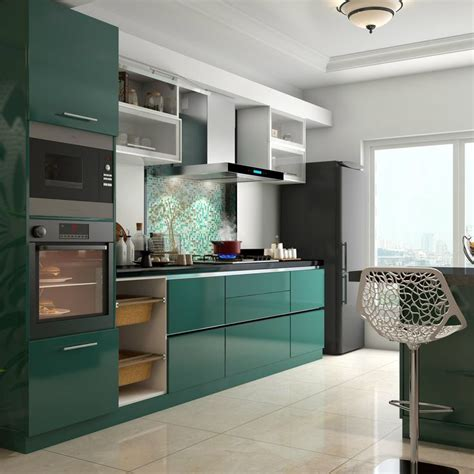 movable kitchen cabinets india glossy green cabinets infuse vitality to this kitchen
