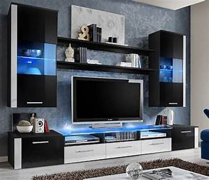 Black / white high gloss wall Unit - Lumia 2 - Concept Muebles