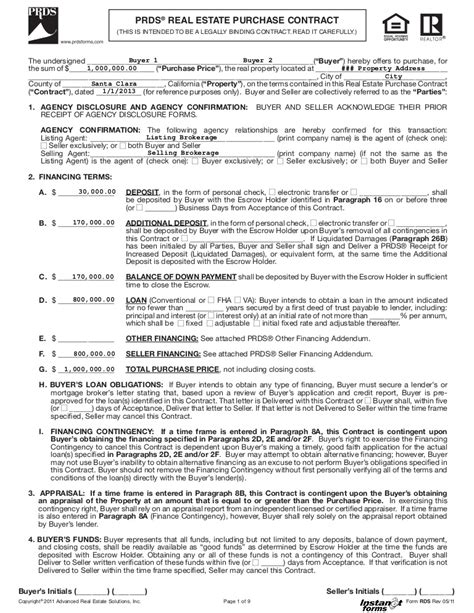 real estate purchase contract rds rev
