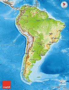 Physical Map Of South America  Shaded Relief Outside