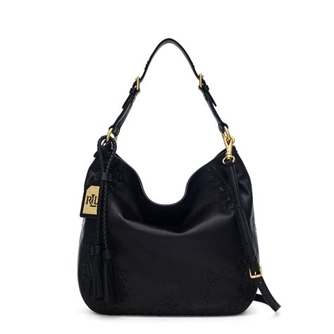 lyst pink pony ridley leather hobo bag  black