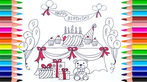draw  birthday party set  kids coloring pages