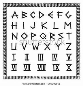 Greek Font Vector English Alphabet Ancient Stock Vector ...