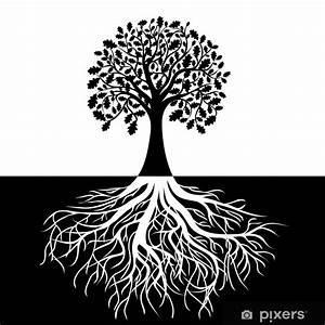 Stickers Arbre Noir : sticker arbre avec des racines sur fond noir et blanc pixers nous vivons pour changer ~ Teatrodelosmanantiales.com Idées de Décoration