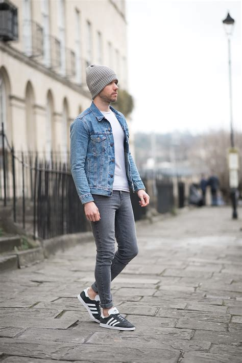 Levis Icy Trucker Denim Jacket And Adidas Charcoal Gazelle ...