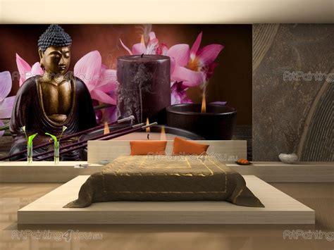 poster mural geant zen buddha statue orchids wall murals posters mcz1047en