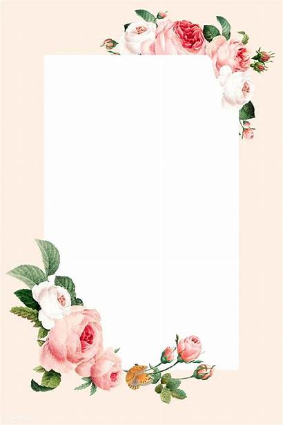 Floral Blank Frame Rectangle Flower Rawpixel Graphic