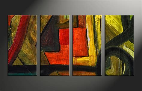 Home Decor Paintings 3 Panel Classic Paris Oil Painting On: 4 Piece Canvas Abstract Colorful Oil Painting Decor