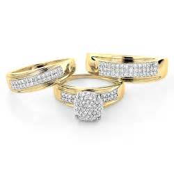 his and wedding ring sets 10k gold engagement trio his and hers wedding ring set 0 95ct