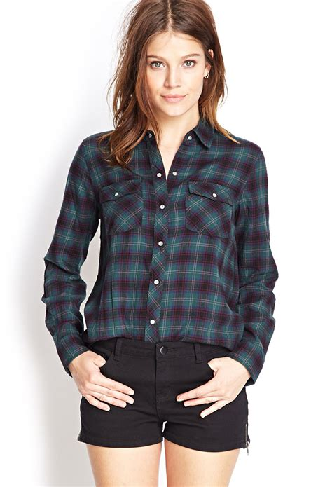 plaid sleeve knit top lyst forever 21 snap button flannel shirt in green
