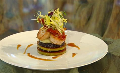 One method is to mix the eggs and sugar together first as in a génoese, the other method (featured here) is to cream. James Martin scallops with apple and black pudding recipe on Saturday Kitchen - The Talent Zone