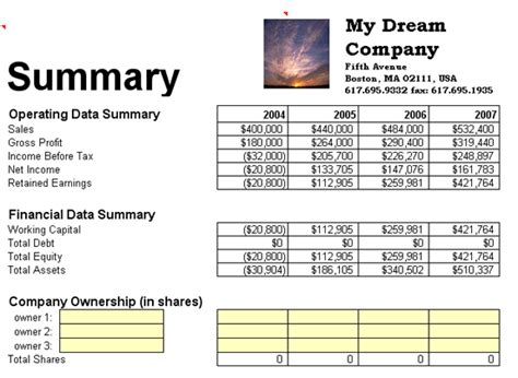 Business Planning Financial Summary