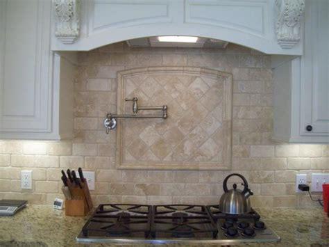 Chiaro Tile Backsplash : Giallo Ornamental Granite With Tumbled Marble Chiaro By