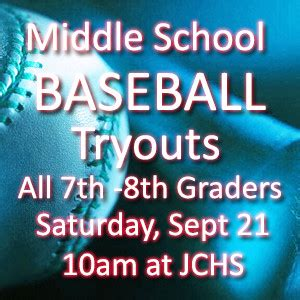 baseball tryouts middle school saturday september