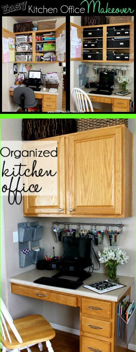 Organized Kitchen Office Makeover  Tips, Office Spaces