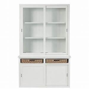 Vaisselier Blanc Et Bois : vaisselier en bois blanc buffet bahut ~ Nature-et-papiers.com Idées de Décoration