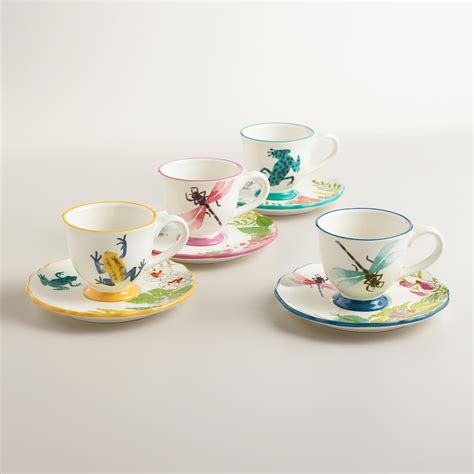Shop for coffee cup sets online at target. Fiji Teacups and Saucers, Set of 4 | World Market | Tea cups, Unique coffee mugs, Dinnerware