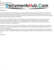 Cover Letter Applying For Pharmacy Technician by Cover Letter For Pharmacy Technician Documentshub