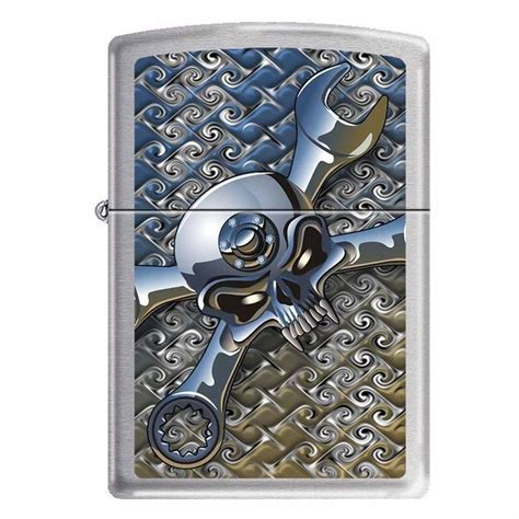 "Zippo ""Socket Spanner Skull"" Brushed Chrome Lighter"