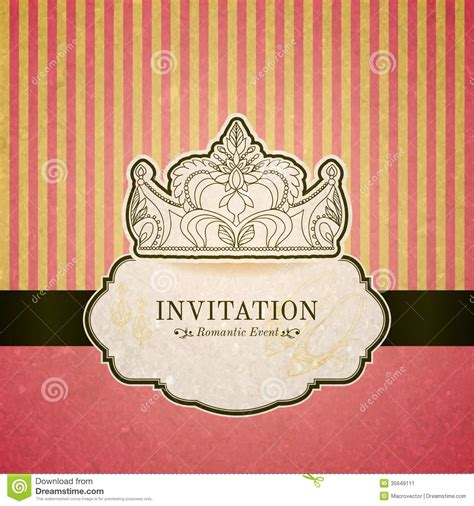 princess invitation card  crown stock image image