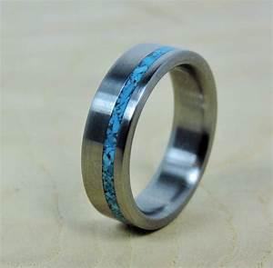 wedding ring titanium with turquoise ring titanium ring With handmade mens wedding rings