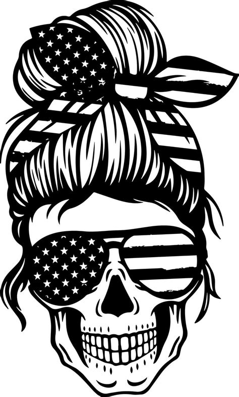 Messy bun bandana mom life. American Mom Skull svg Messy bun skull svg Mom life SVG | Etsy
