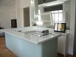 Bar Cuisine Ouverte : cuisine lineaquattro en verre blanc ~ Melissatoandfro.com Idées de Décoration