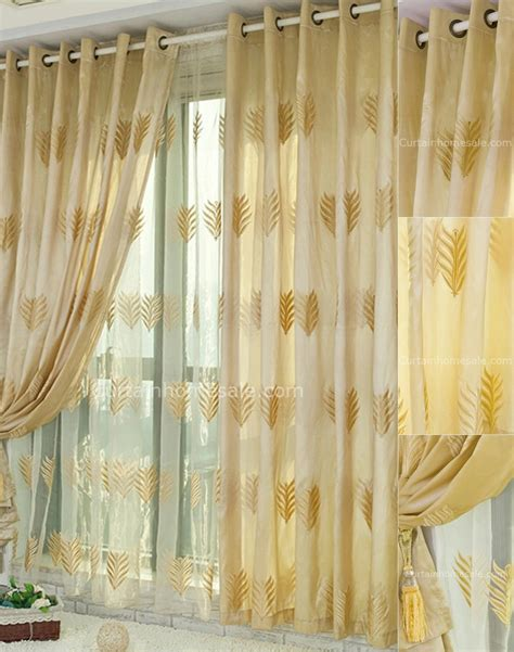 fabulous leaf patterns embroidery bedroom blackout yellow