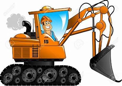 Excavator Clipart Bagger Equipment Cartoon Digger Cat