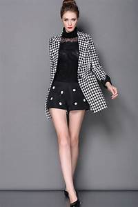 Size Chart Women S One Button Long Sleeve Houndstooth Blazer
