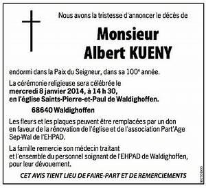 Avis De Deces Aisne : annonce mortuaire albert kueny waldighoffen ~ Dailycaller-alerts.com Idées de Décoration