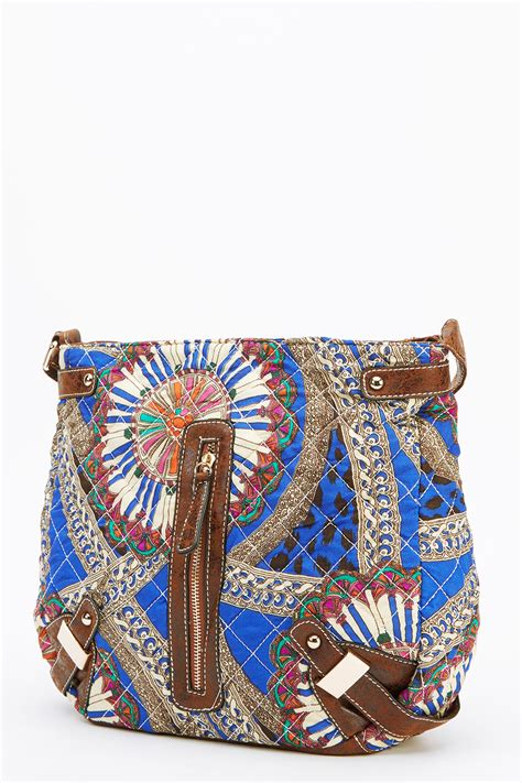 blue quilted mixed print crossbody bag handbags quilt bags cloth bags ladies handbags uk