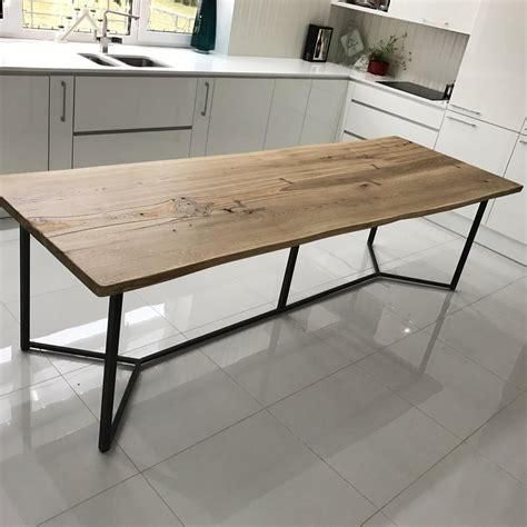 live edge oak table solid live edge oak industrial dining table cosywood co uk