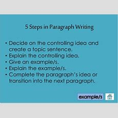 Steps In Writing A Paragraph
