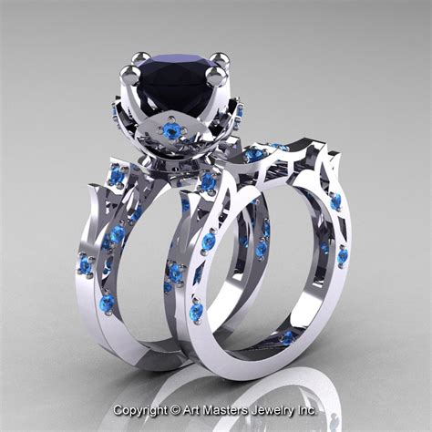 modern 14k white gold 3 0 carat black diamond blue topaz solitaire wedding ring