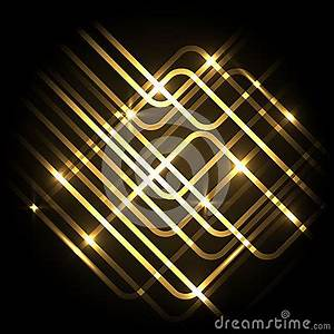 Abstract Neon Gold Background With Lines Stock Vector
