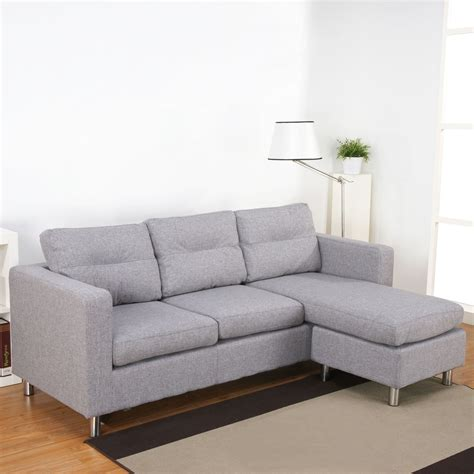 White Fabric Sectional Sofa With Chaise Hereo Sofa