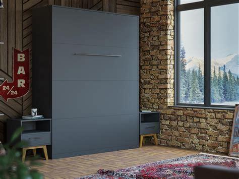 Schrankbett 160x200 Vertikal by Schrankbett 160cm Vertikal Anthrazit Komfort Lattenrost