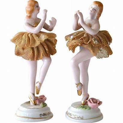 Figurines Ballerina Porcelain Japan Lace