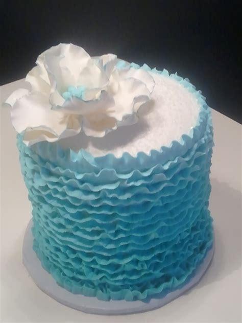 Blue Buttercream Ruffled Birthday Cake Cakecentralcom