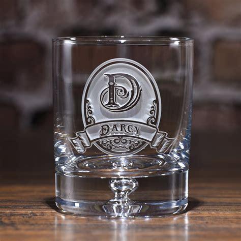 crystal bourbon glasses set  engraved monogram