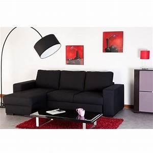 Canape Convertible Noir : photos canap d 39 angle convertible noir pas cher ~ Teatrodelosmanantiales.com Idées de Décoration