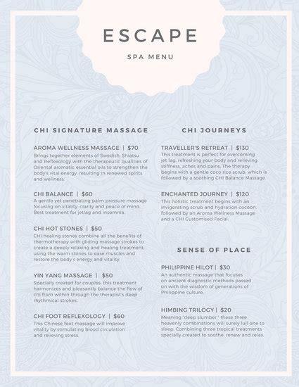 pastel pattern spa menu templates  canva
