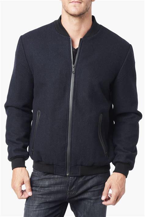 lyst    mankind wool bomber jacket  blue  men