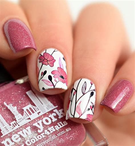detailed pretty pink floral nails pictures