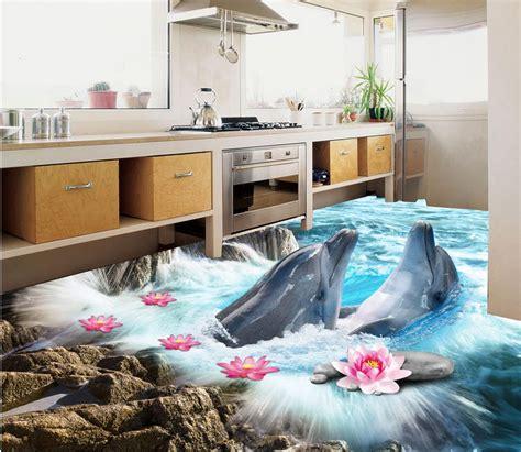boden aufkleber boden tapete  fuer badezimmer delphin