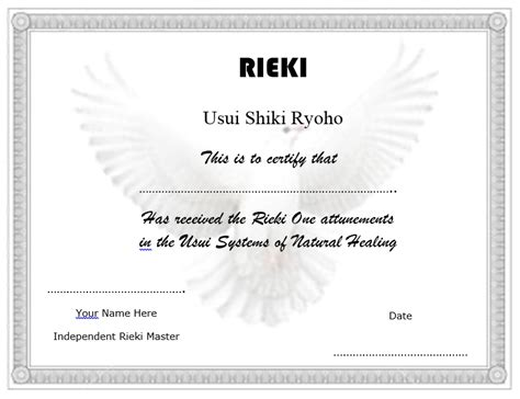 Reiki Level 1 Certificate Template by Pin Reiki Certificate Template Free On