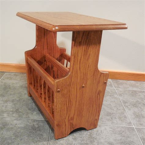 magazine rack table solid oak paddle country style magazine rack end table