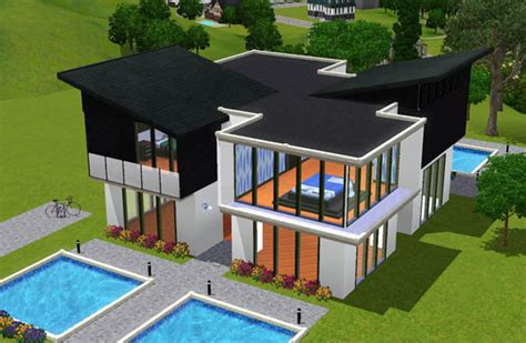 sims 3 maison moderne et blanche house black and white architecture maison house jeu