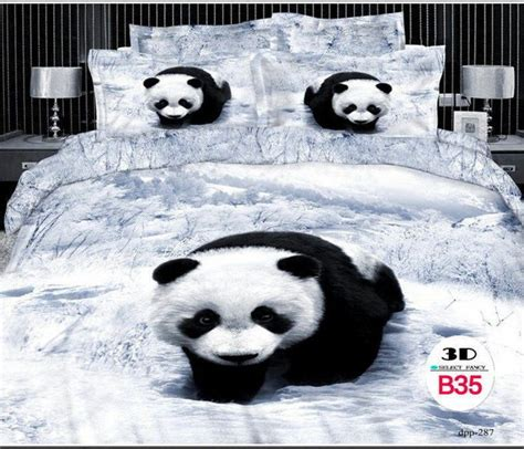 print queen cotton bedding set  pcs grayblack panda